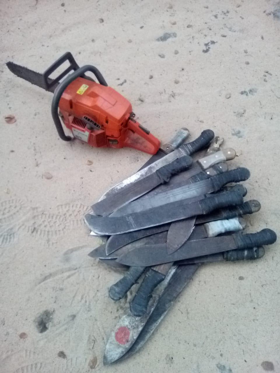 chainsaw and machete